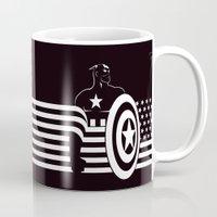 captain silva Mugs featuring captain by MISTER BLACKWHITE