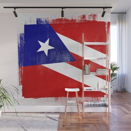 Puerto Rican Distressed Halftone Denim Flag Wall Mural