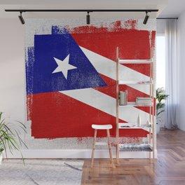 Puerto Rican Distressed Halftone Denim Flag Wall Mural