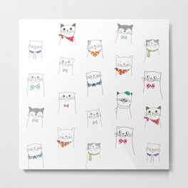 Lovely Cats | Pattern Art Metal Print