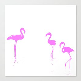 We Are The Three Flamingos Silhouette In Pink Canvas Print
