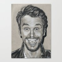 james franco Canvas Prints featuring James Franco In Charcoal by The Art of Mia Rivera