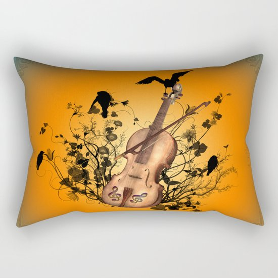 Violin with violin bow Rectangular Pillow