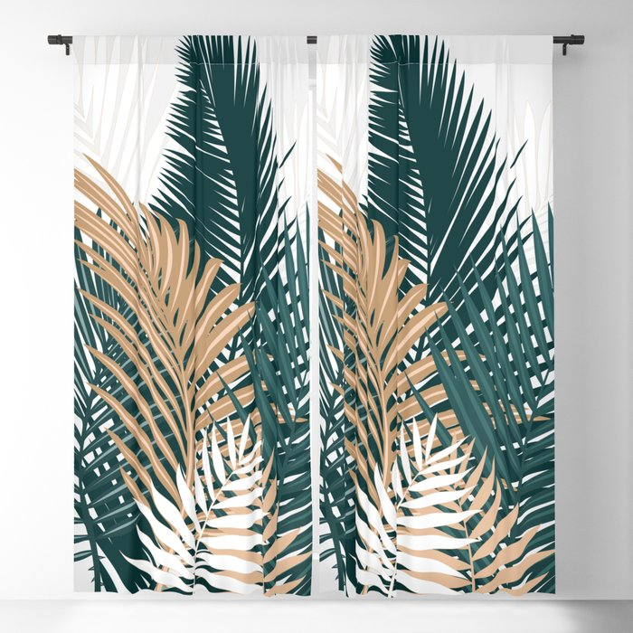 Gold and Green Palm Leaves Blackout Curtain
