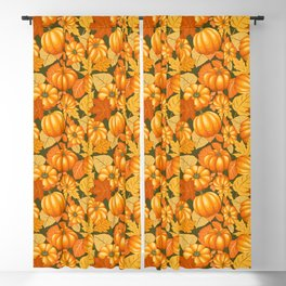 Pumpkins and Autumn Leaves Party Blackout Curtain