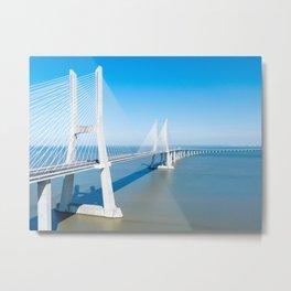 Aerial View Of Vasco da Gama Bridge, Aerial Printable Photography, Lisbon Architecture Wall Art Metal Print
