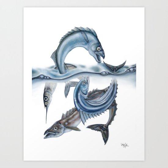 INKYFISH - Fish scraps Art Print