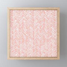 Pink, Boho, Abstract, Herringbone Pattern Framed Mini Art Print