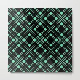 Black and green geometric pattern Metal Print