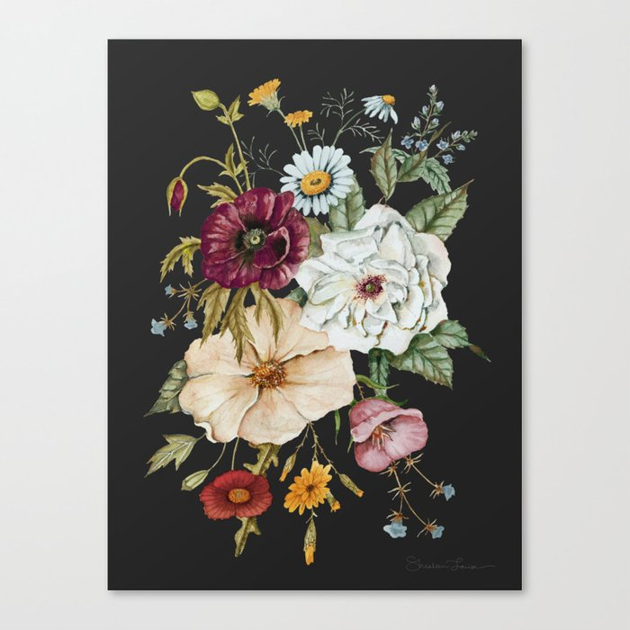 Colorful Wildflower Bouquet on Charcoal Black Leinwanddruck