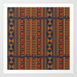 Boho Mudcloth (Blue, Gold, Persimmon) Art Print