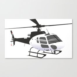 Black and White Helicopter Canvas Print