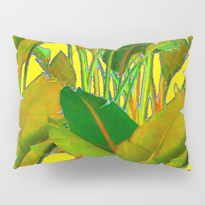 GOLDEN TROPICAL FOLIAGE GREEN & GOLD LEAVES AR Pillow Sham
