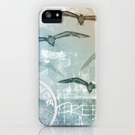 Free Like A Bird Seagull Mixed Media Art iPhone Case