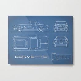 The Corvette C1 Blueprint Metal Print