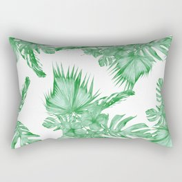 Palm Leaves and Hibiscus Tropical Green Rectangular Pillow