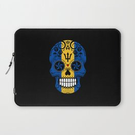 Sugar Skull with Roses and Flag of Barbados Laptop Sleeve