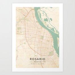 Rosario, Argentina - Vintage Map Art Print