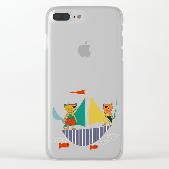 Pirate Boat teal Clear iPhone Case