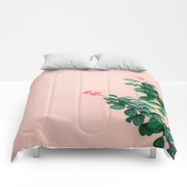 Floral photography print | Green on coral | Botanical photo art Comforters