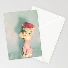 Vintage Staring Bobblehead Cat Stationery Cards