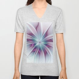 Floral and Luminous, abstract Fractal Art Unisex V-Neck