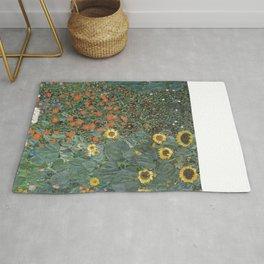Gustav Klimt - Farm Garden with Sunflowers Rug