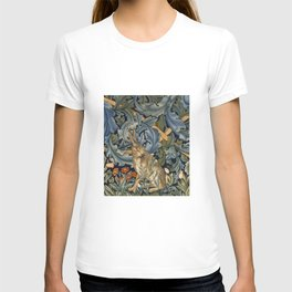 William Morris Forest Rabbit Floral Art Nouveau  T-shirt