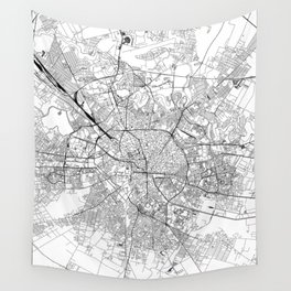 Bucharest White Map Wall Tapestry