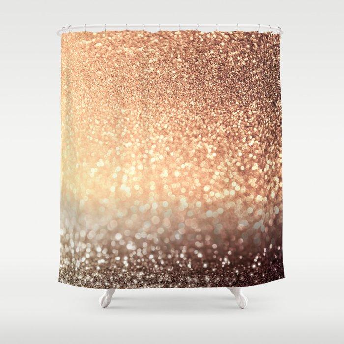 Cozy Copper Espresso Brown Ombre Autumnal Mermaid Glitter Shower Curtain
