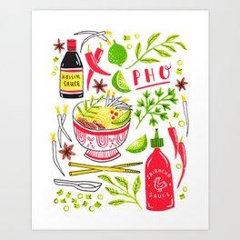 Vietnamese Pho Soup Sriracha Art Print