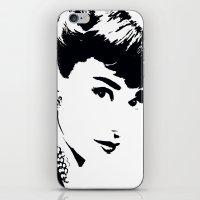 audrey hepburn iPhone & iPod Skins featuring Audrey Hepburn by Saundra Myles