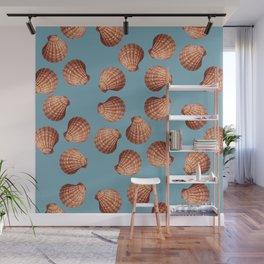 Light blue Big Clam pattern Illustration design Wall Mural