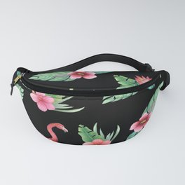 Pink flamingo on black with tropical flowers, hibiscus, protea and palm leaves Fanny Pack