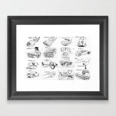 Sketched MovieRepliCars Framed Art Print