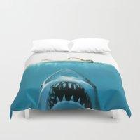 shark Duvet Covers featuring Shark by Maioriz Home