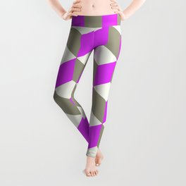 Diamond Repeating Pattern In Ultra Violet Purple and Grey Leggings