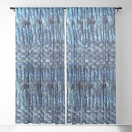 Blue Shawl Sheer Curtain