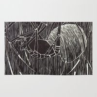 spider Area & Throw Rugs featuring spider by Emily Tumen