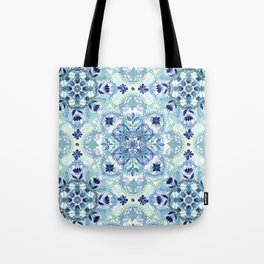 Navy Blue, Green & Cream Detailed Lace Doodle Pattern Tote Bag