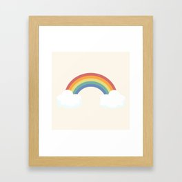 Vintage Rainbow With Clouds Framed Art Print