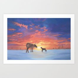 Mother Caribou & her Calf Art Print