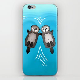 Otters Holding Hands - Otter Couple iPhone Skin