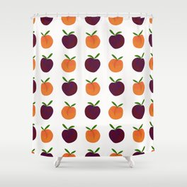 Peachy Plummy Hand-Painted Orchard Fruits in Orange and Purple Shower Curtain