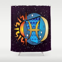 astrology Shower Curtains featuring Astrology, fish by Karl-Heinz Lüpke