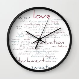 Love Word Cloud Wall Clock