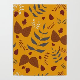 Autumn leaves and acorns - ochre and brown Poster