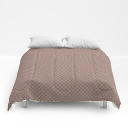 Cavern Clay SW 7701 Tiny Uniform Polka Dot Pattern 1 on Slate Violet Gray SW9155 Comforters