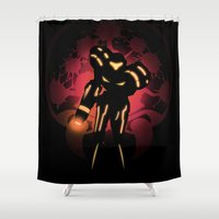 metroid Shower Curtains featuring Metroid by Casa del Kables