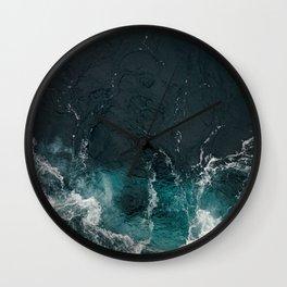 Bluish frothing ocean Wall Clock